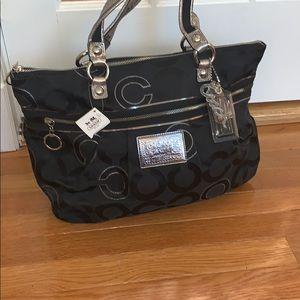 Black Poppy Coach Bag